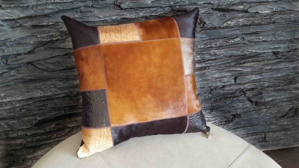 Leather and Cavallino Patchwork Cushion