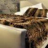 Tanzanian leopard printed fur throw