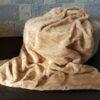 Herringbone Mink Fur Blanket in Pale Apricot
