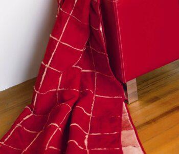 Sueno red merino patchwork throw