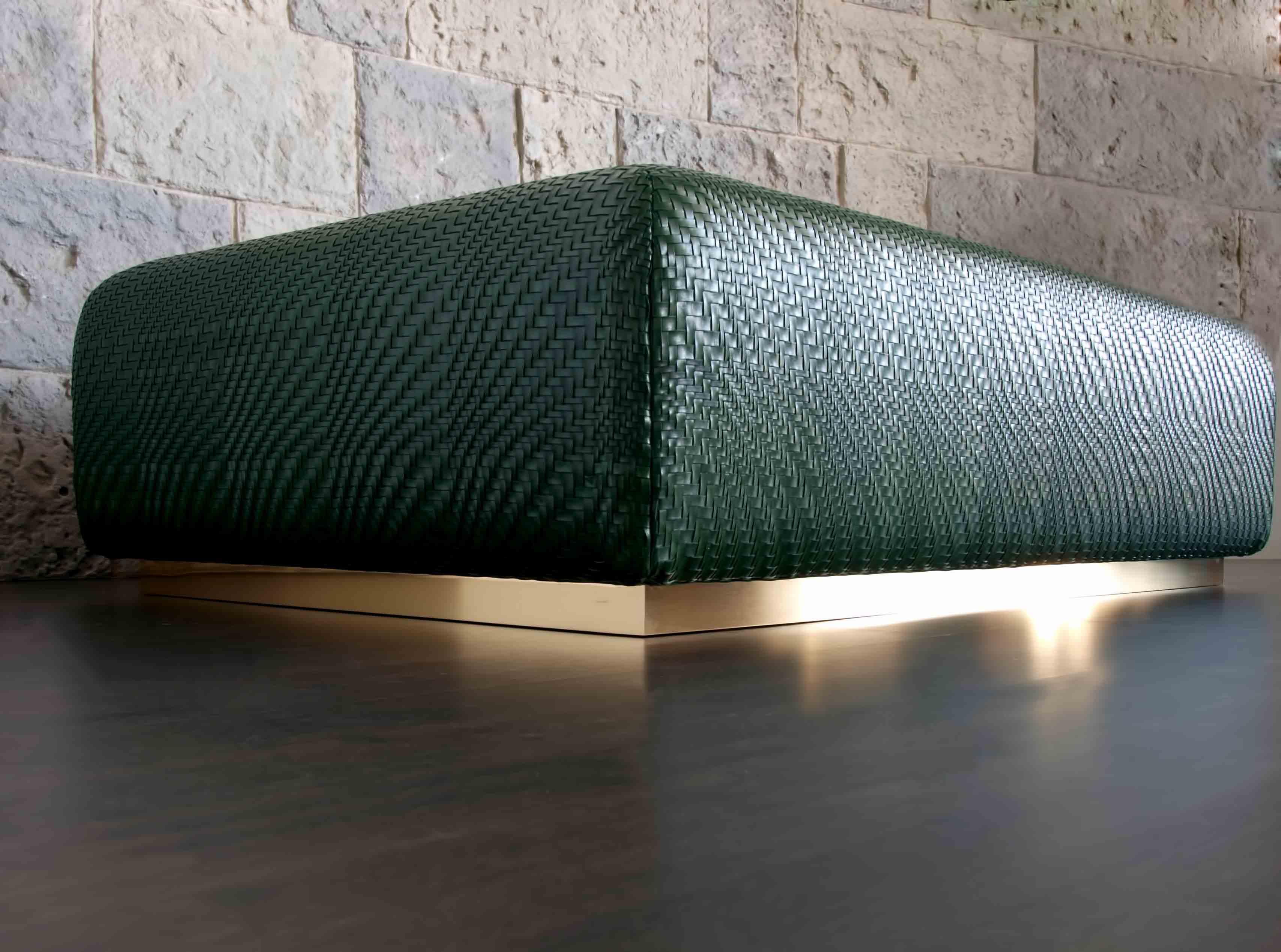 dentro home viarreggio woven leather coffee table ottoman
