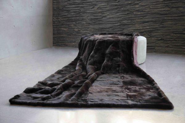 Chocolate Brown Imperial Chinchilla Rex Fur Blanket