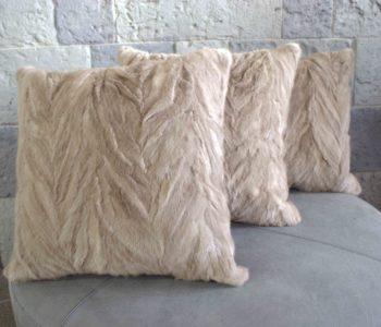 Mink Fur Herringbone Carved Mink Cushion