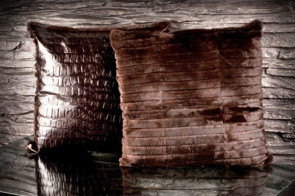 CUSHION single Tone Ribbet Rabbit Brown long hair + Croc leather 55x55