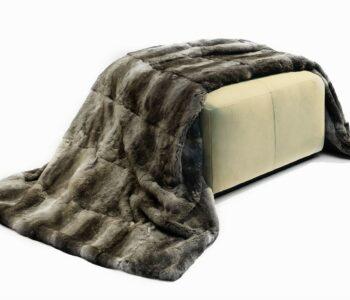 Natural Chinchilla Rabbit Fur throw
