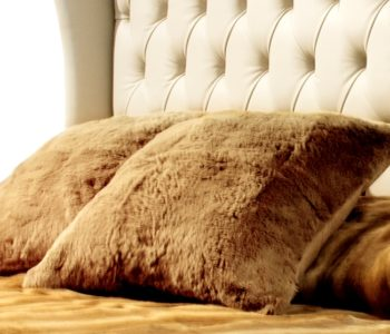 Nordic Night camel rabbit fur cushion
