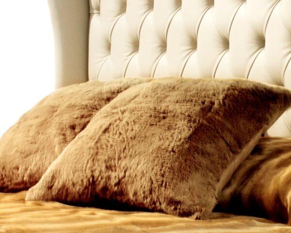 Nordic Night camel rabbit fur cushion
