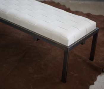Alyssa woven leather antique bronze Banquette